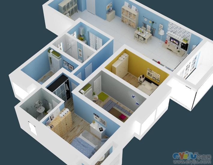 房间俯视效果图