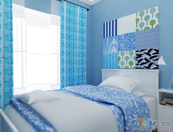 卧室浅蓝色墙漆效果