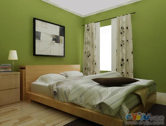 淡绿色卧室效果图; 免费装修设计