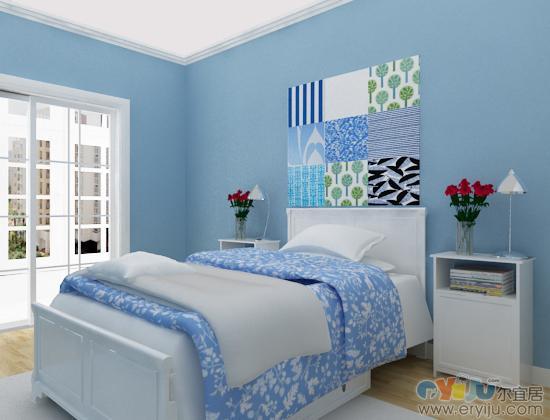 浅蓝色墙漆客厅装修效果图