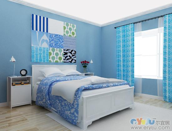 卧室贴浅蓝色欧式
