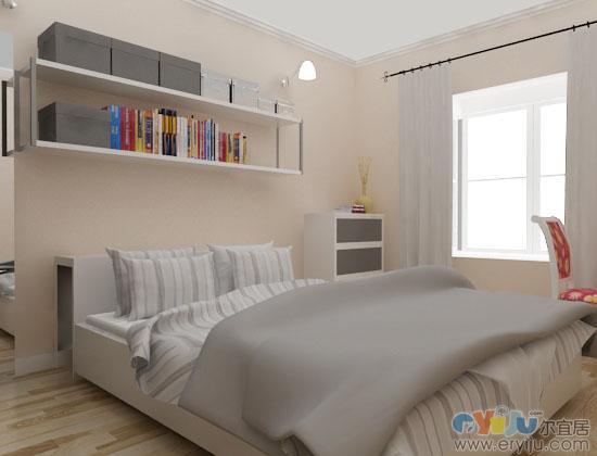 浅色木地板象牙白欧式床效果图