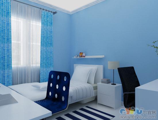浅蓝色壁纸风景客房