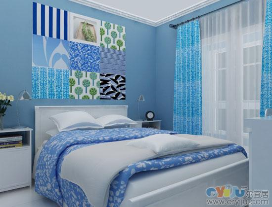 臥室淡藍色背景圖片